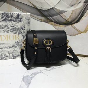 Dior Bobby Round Flap Bag in Black Leather😀